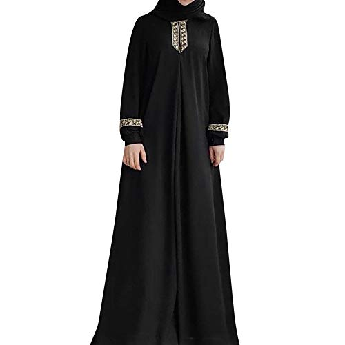 kaifongfu Women Plus Size Print Muslim Maxi Dress Casual Solid Color Kaftan Long Dress(Black,L)