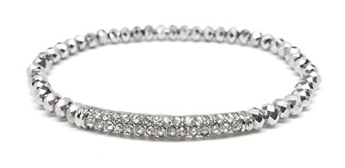 Plated Stretch Bracelet Silver Beaded (Loviea Crystal Pave Bar Stretch Bracelet Beaded Bangle Bracelet for Everyday, Wedding, Gift (Silver))