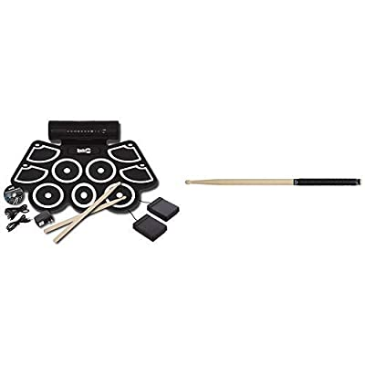 RockJam Portable MIDI Electronic Roll Up Drum Kit with Built in Speakers, Power Supply, Foot Pedals and Drumsticks with Vater VGTB Grip Tape, Black (4-Pack): Musical Instruments