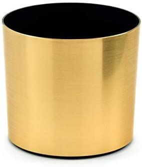Metal Wrapped Lightweight Flower Pot, 7 Planter Container – No Leak – for Flowers, Succulent, or Cactus – Use On Modern Plant Stand – Made in USA Brushed Brass