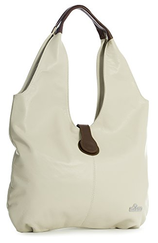 Tote Bag Brown Trim Boho Leather Hobo LIATALIA Soft ZOE Italian Large Shopper Beige Light Genuine Shoulder A6Zn0R