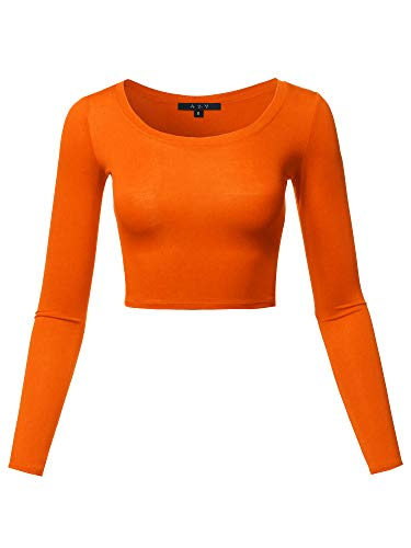 - Basic Solid Stretchable Scoop Neck Long Sleeve Crop Top Orange S