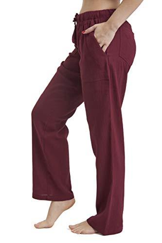 J & Ce Women's Gauze Cotton Beach Pants with Pockets (Burgundy, XXXL)