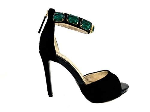 Plateau Shoes Scarpe Heel Alto Particolare Cristalli Particular High Crystals Nero Cerimonia Sandal Woman Con Leather Sandali Emerald Vegan Elegant Black Elegante Donna Tacco Sandalo qO07wY