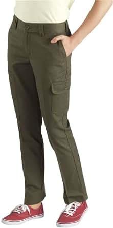 Dickies KP540 Girls' Slim Straight Cargo Pant (Rinsed Grape Leaf;8 Regular)
