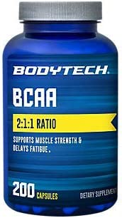 BodyTech BCAA Branched Chain Amino Acid Optimal 2 1 1 Ratio Supports Muscle Recovery Endurance 200 Capsule