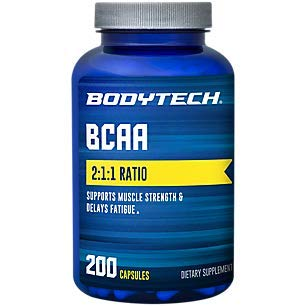BodyTech BCAA Branched Chain Amino Acid Optimal 2 1 1 Ratio Supports Muscle Recovery Endurance 200 Capsules
