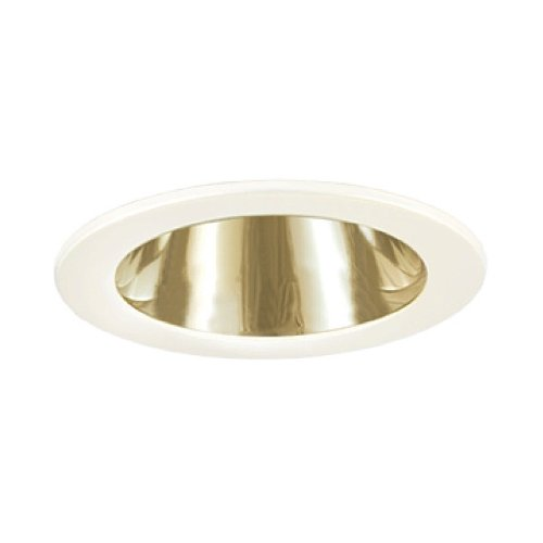 Jesco Lighting TM202PBWH 2-Inch Aperture Line Voltage Trim Recessed Light, Open Reflector, Polished Brass Finish With White Trim