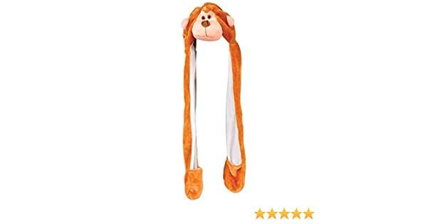 6fc0d0c28ca Amazon.com  Plush Monkey Hat Novelty Cap Animal Costume Beanie With Long  Paws Brown White  Clothing