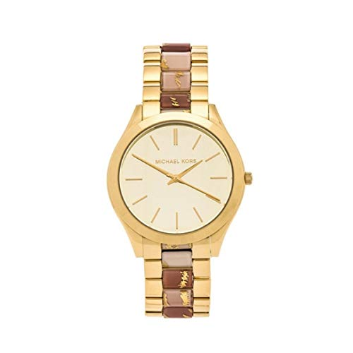 Michael Kors Watches Slim Runway Three Hand Stainless Steel Watch Gold White