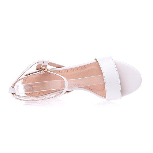 Amoonyfashion Kvinna Kick-häl Mjukt Material Fast Spänne Öppen Sandaletter Vita