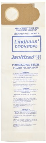 Janitized JAN-LD3-2(10) Premium Replacement Commercial Vacuum Paper Bag For Lindhaus D3/DP3/DP5 Evolution/DH3/DP5 Hepa & Valzer HEPA Vacuum Cleaners (10 - 10 packs) by Janitized