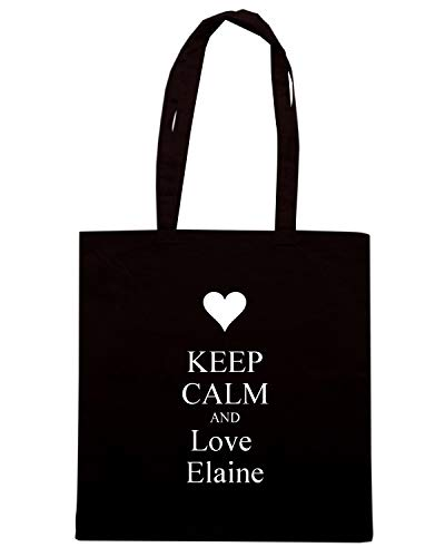 Borsa Shopper Nera TKC1737 KEEP CALM AND LOVE ELAINE