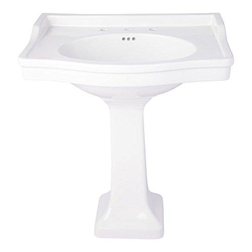 Naiture Large Porcelain White Pedestal Bathroom Sink With Brushed Nickel Finish Pop-Up Barthroom Drain- 1-1/2