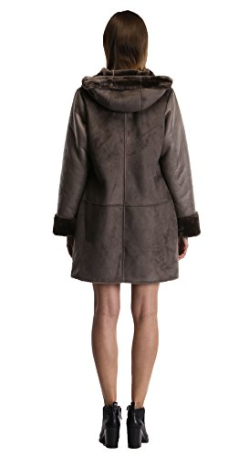 Enjoy fur Women's 2016 New Style Dark Bronze Faux Leather Coat With Hood (X-Large) by Enjoy fur (Image #6)