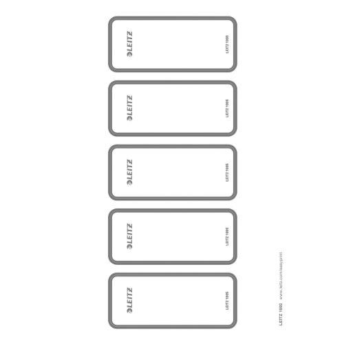 Leitz 16920085 - Etichette autoadesive per dorso di raccoglitori, scrivibili con computer, larghe, 50 pezzi, colore: Grigio