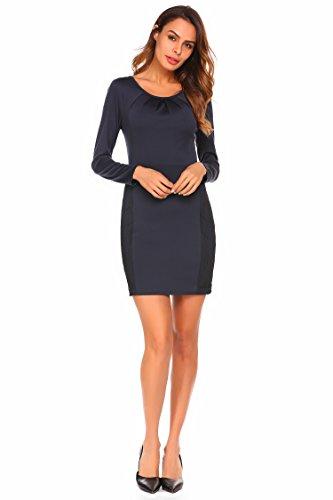 ee4f90b443fb Chigant Damen Kleid Langarm Minikleid Etuikleid Bleistiftkleid Bodycon mit Spitze  Patchwork  Amazon.de  Bekleidung