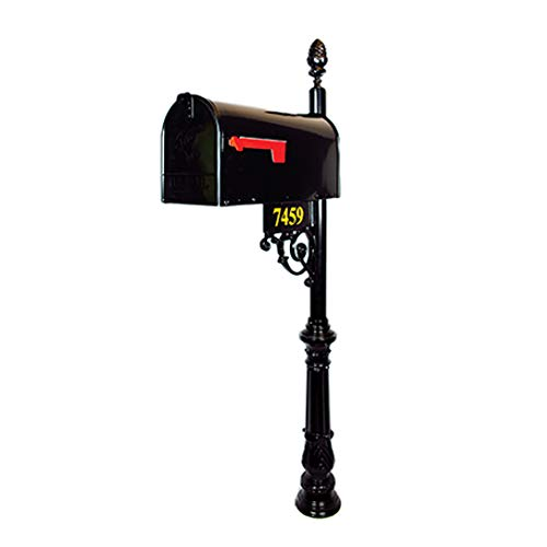Addresses of Distinction Essex Standard Mailbox & Post System – Black Rust Resistant Mailbox – Includes Address Plaque, Numbers, Scroll & Mounting Hardware – Metal Mailbox with Pineapple Finial (Standard Cast Aluminum Mailbox Post)