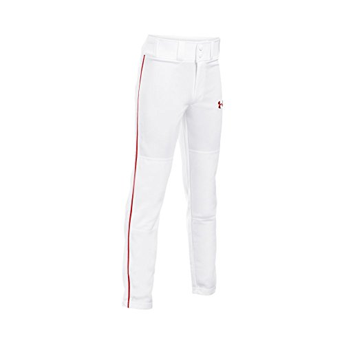 Under Armour Boys' Clean Up Piped Baseball Pants, White/Red, Youth Medium -
