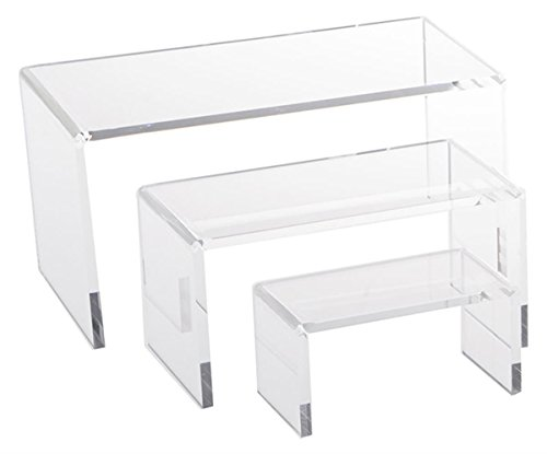 Jusalpha 3.25 Inches Small Clear Acrylic Riser Set Showcase for Jewelry, Display Stand ()