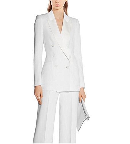 Breasted Peak Tuxedo Jacket Double (Women's Peak Lapel White Business Suits 2 Pieces Double Breasted Wedding Groom Tuxedos L)