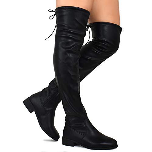 High Heels Lace Thigh (Premier Standard - Women's Fashion Comfy Vegan Suede Block Heel Side Zipper Back Lace Thigh High Over The Knee Boots, TPS Boots-51Aipmylo v2 Black Size 7)