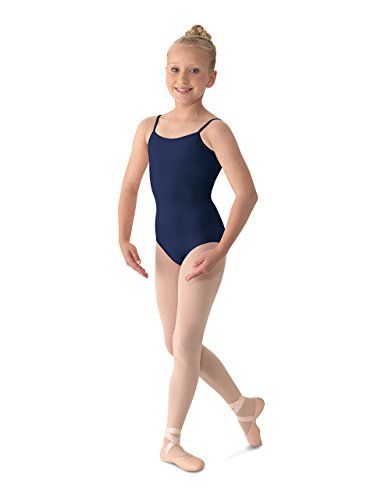 (Mirella Girl's Classic V-Back Camisole Dance Leotard,Navy,14)