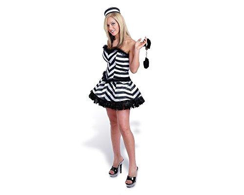 Sunnywood Women's Lava Diva Convict Corset Costume, Black/White, Medium/Large -