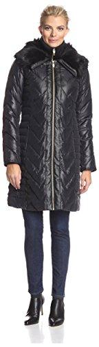 - Via Spiga Women's Faux Fur Trimmed Down Coat, Black, S