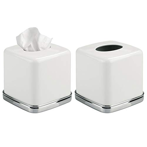 mDesign Square Facial Tissue Box Cover Holder for Bathroom Vanity Counter Tops, Bedroom Dressers, Night Stands, Desks and Tables - Pack of 2, Solid Steel Construction, White with Polished Chrome Base (Square Nesting Tables Iron)