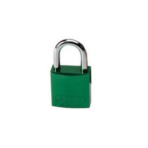 Brady Aluminum Lockout/Tagout Padlock, Keyed Different, 1-3/5'' Body Length, 1'' Shackle Clearance, Green (Pack of 6)