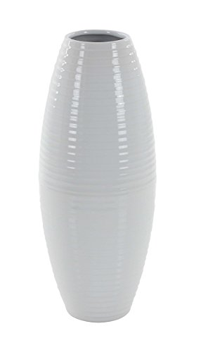 (Deco 79 40548 Ribbed Ceramic Vase, White)