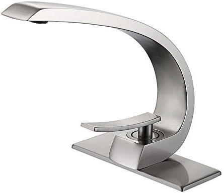 蛇口 単穴の浴室のシンクの蛇口現代の浴室のシンクの蛇口つや消しニッケル キッチン蛇口 (色 : Silver, Size : Free size)