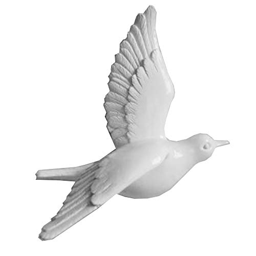 V-Top-Shop 3D Bird Dove Three Dimensional Murals Home Decor Wall Decorations Sculptures - Resin - White - 1 pc - 20 x 19 x 11 cm (7.9