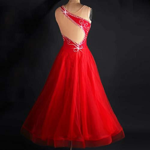 Concours Jupe Danse s Pour Spectacle Sans National Salon Robes Perceuse Wqwlf Costume Red Moderne Haut Les De Standard Femmes Flash Grade Manches qw4SBtHEx