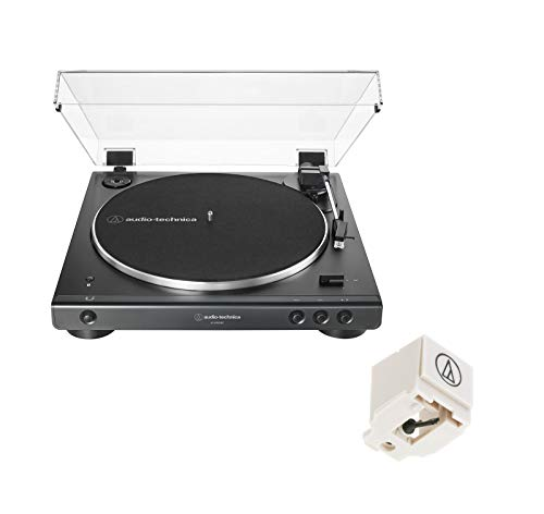 Audio Technica AT-LP60XBT Fully Automatic Belt-Drive Wireless Bluetooth Turntable Bundle with Replacement Cartridge - (ATN3600L) Black