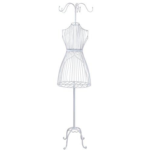 Songmics® Weiblich Schneiderpuppe Kleiderständer 177 cm Dekobüste Schneiderbüste Metall Weiß HRA007W