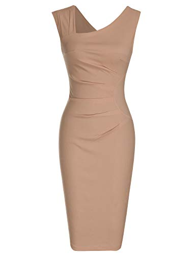 MUXXN Audrey Hepburn Style Wiggle Mermaid Pencil Dress with Ruched Waist for Womens (Camel XXL) (Pencil Dress Detail)
