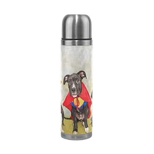 Thermos Hipster Puppy Dog Dressed In Halloween Costumes Cycling Insulated Stainless Steel Water Bottle Leak Proof Thermos Leather Cover 17 Oz