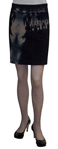 (Baby'O Women's Tie Dye Stretch Denim Pencil Mini Skirt-TAN-BLK-12)