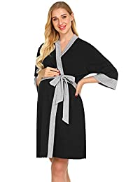 Ekouaer Maternity Robe Nursing 3 in 1 Labor Delivery Gown Breastfeeding Dress