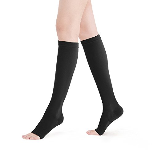 Fytto 2120 Women's Compression Socks, 20-30mmHg Open Toe Microfiber Support Hosiery for Varicose Veins, Lymphedema, DVT and Aching Leg, Knee High, Black, Large