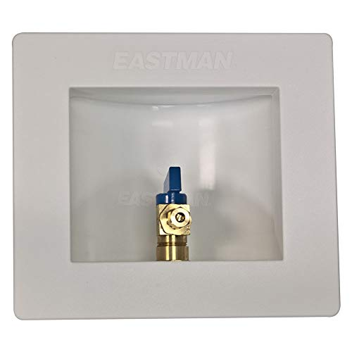 Eastman 60234 Pre-assembled Ice Maker Outlet Box, 1/2-Inch CPVC with Installed 1/4-Turn Ball Valve, White