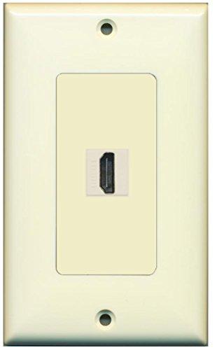 RiteAV HDMI 2.0 Keystone Decorative Wall Plate - Light Almond/Light Almond 1 Port