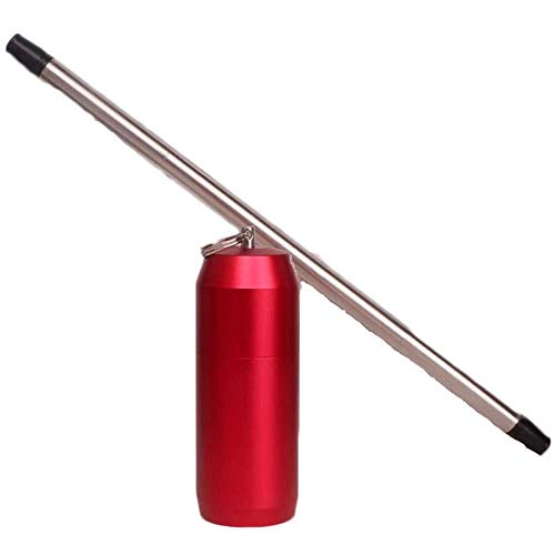 304 Stainless Steel Drinking Straw -The World's First 9 inch Reusable Collapsible Drinking Straw Portable Keychain Non-Toxic Food-Grade CE FDA Authenticated (Red) by T-Trees (Image #1)