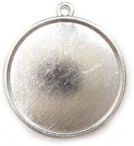 【HARU雑貨】シルバー ミール皿 1枚/丸皿 丸 大 円 銀 s45/セッティング レジン アクセサリーパーツ