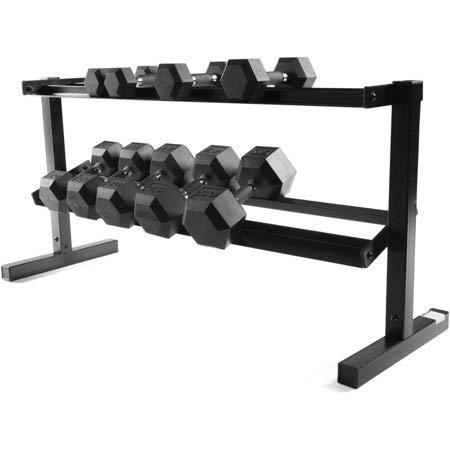 CAP Barbell' 2-Tier Dumbbell Equipment 500 lb Weight Capacity Storage Rack, 50'' in Black