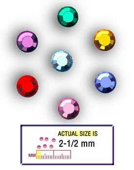 (National Artcraft Glass Flatback Rhinestones in Assorted Colors - 2-1/2mm (Pkg/144))