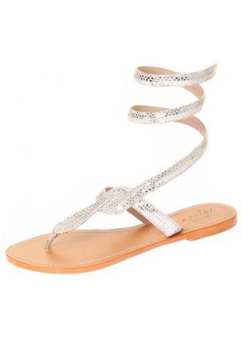 130b30801f242f Aspiga Cobra Silver Snakeskin Ankle Wrap Toe Post Flat Sandal Silver UK 8 -  41