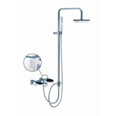 Brick Chic Wall Mount Thermostatic Tub and Shower Faucet with Hand Shower Finish: Chrome Brick Chic Tub